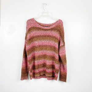 American Eagle   Colorful Pink Knit Sweater Brown